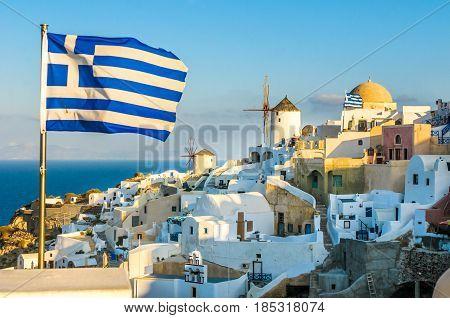 Oia village at Santorini island, Cyclades, Greece