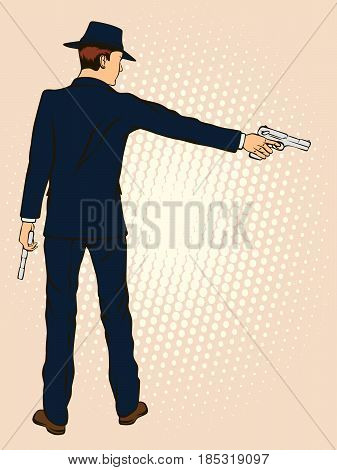 Man in a hat with a gun. Retro style pop art. Vector illustration
