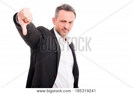 Handsome Man Showing Thumbs Down Sign