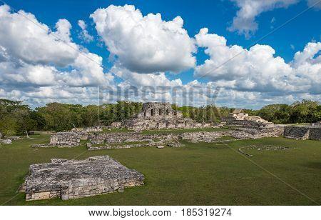 Highly detailed image of Mayapan ancient ruins Yucatan Mexico