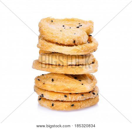 stack of biscuit with black sesame isolated on white background