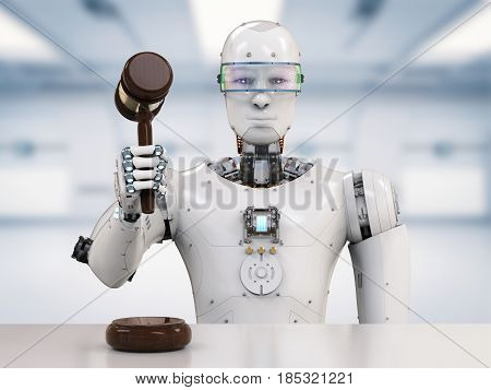 3d rendering robot holding gavel judge for cyber law concept