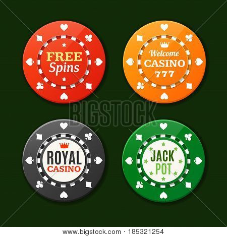 Casino Chips Sign Set Gambling Game, Symbol of Risk and Luck on Green. Vector illustration