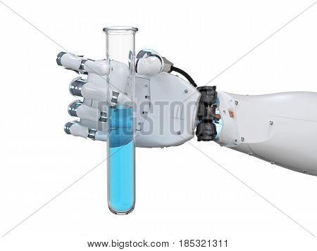 Cyborg Hand Holding Test Tube