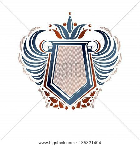 Blank Heraldic Coat Of Arms Decorative Emblem With Copy Space And Cartouche. Empty Winged Protection