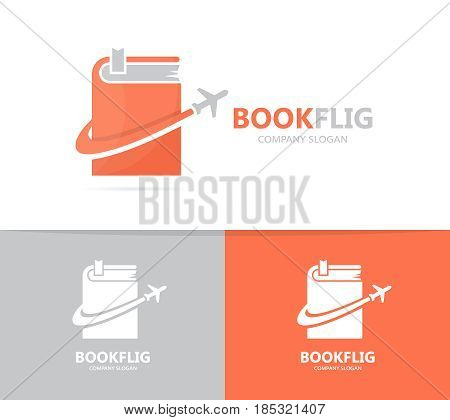 Vector of book and airplane logo combination. Library and travel symbol or icon. Unique bookstore and flight logotype design template.