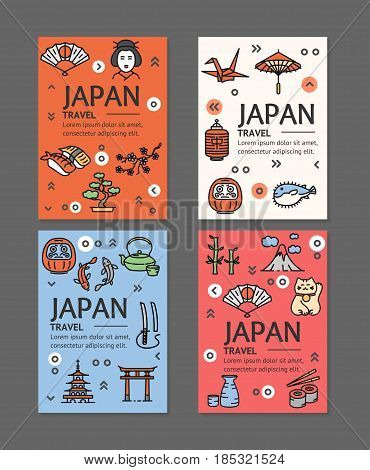 Japan Travel Flyers Placrad Banners Template Set witch Outline Icons Concept Japanese Journey. Vector illustration