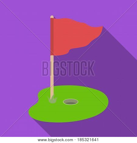 Flag and golf course.Golf club single icon in flat style vector symbol stock illustration .