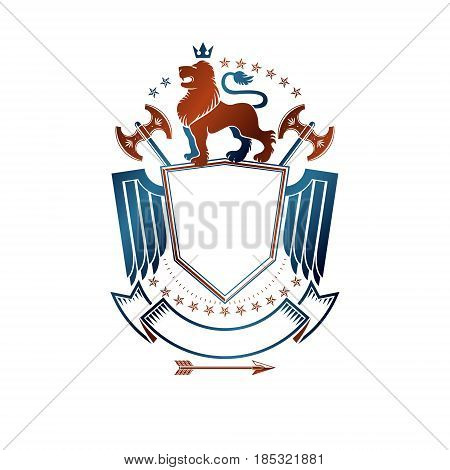 Graphic Emblem With Lion Heraldic Animal Element, Royal Crown And Sharp Hatchets. Heraldic Coat Of A