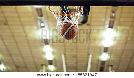 basketball going through hoop