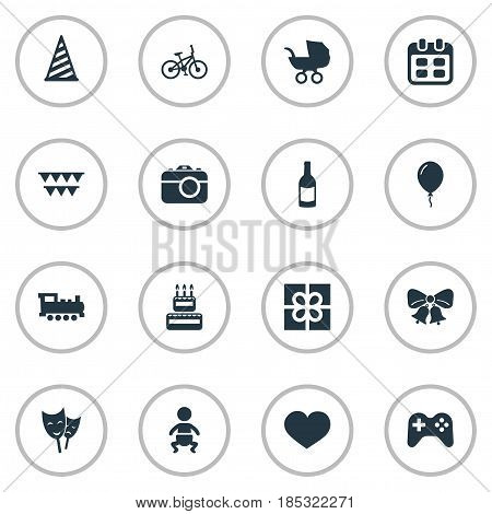 Vector Illustration Set Of Simple Birthday Icons. Elements Baby Carriage, Camera, Train And Other Synonyms Stroller, Soul And Bike.