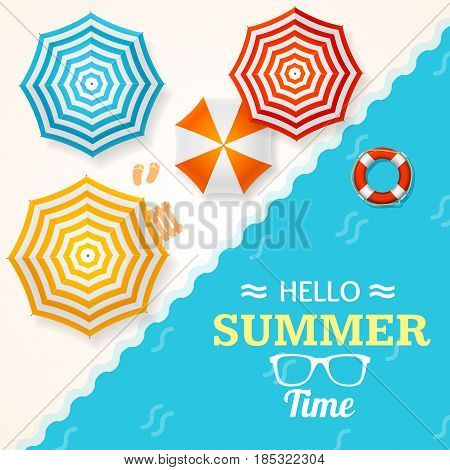 Summer Time Banner with a Beach Umbrella and Lifebuoy Concept of Seasonal Trip Tropical Paradise. Vector illustration