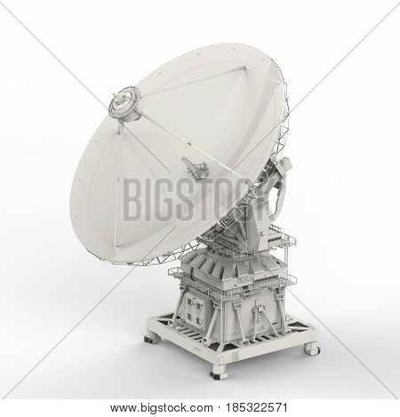 3d rendering satellite dish on white background