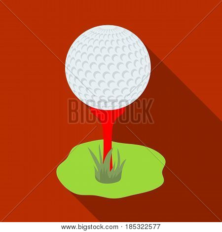 Golf ball on the stand.Golf club single icon in flat style vector symbol stock illustration .