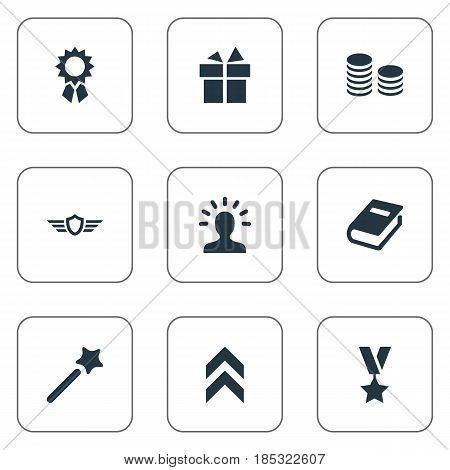 Vector Illustration Set Of Simple Champion Icons. Elements Guard, Miracle, Currency And Other Synonyms Wand, Medallion And Medal.