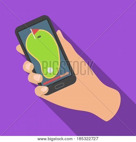 Navigator in the golf course phone.Golf club single icon in flat style vector symbol stock illustration .