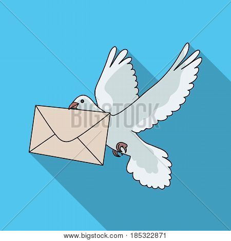 Post pigeon.Mail and postman single icon in flat style vector symbol stock illustration .