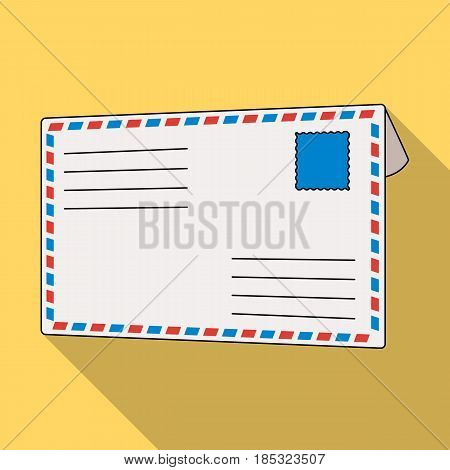 Postal envelope.Mail and postman single icon in flat style vector symbol stock illustration .