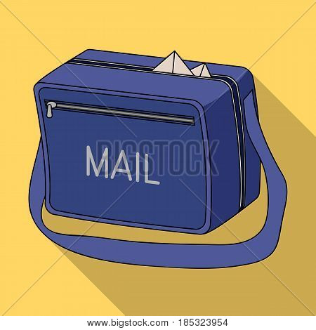 Postal bag.Mail and postman single icon in flat style vector symbol stock illustration .