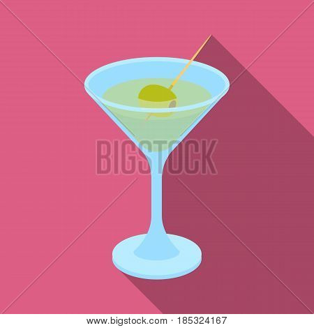 A glass of alcohol with olive.Olives single icon in flat style vector symbol stock illustration .