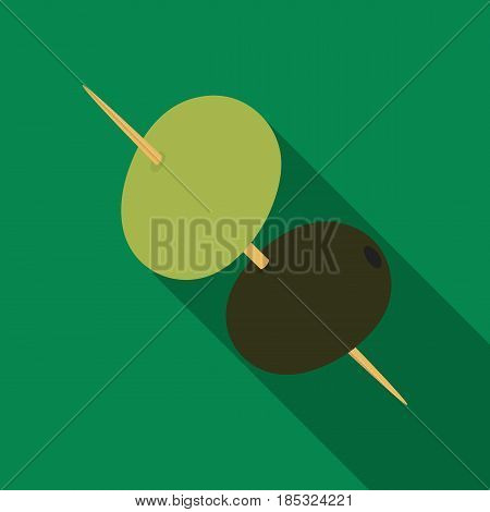 Black and green olives on skewers.Olives single icon in flat style vector symbol stock illustration .