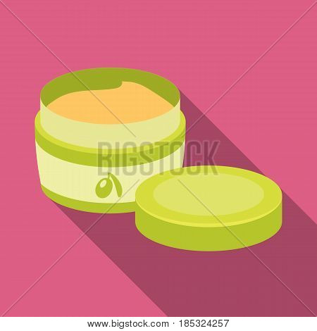 A can of olive cream.Olives single icon in flat style vector symbol stock illustration .