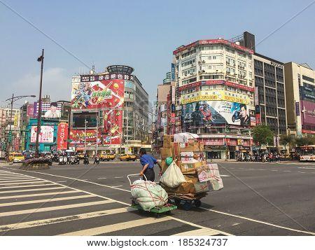 Street At Downtown In Taipei, Taiwan