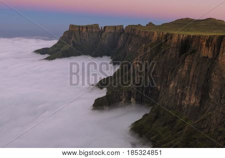 Sunset on the Drakensberg escarpment in South Africa
