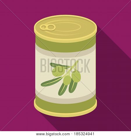 Canned olives in a can.Olives single icon in flat style vector symbol stock illustration .