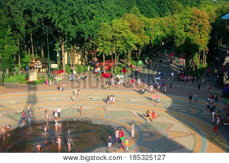 Kharkiv / Ukraine. 07 August 2016: people have a rest in Gorky park in Kharkiv in the summer. Top view. 07 August 2016 in Kharkiv / Ukraine.