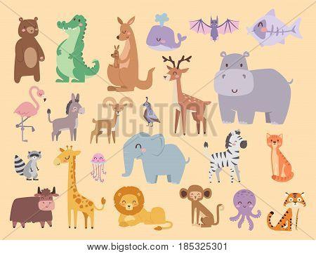 Cute zoo cartoon animals isolated funny wildlife learn cute language and tropical nature safari mammal jungle tall characters vector illustration. Nature wild study africa savanna.