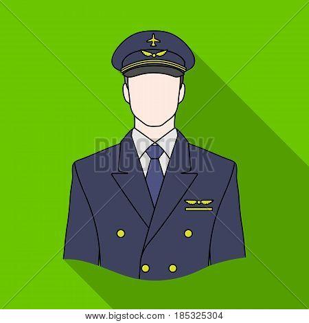 Pilot.Professions single icon in flat style vector symbol stock illustration .