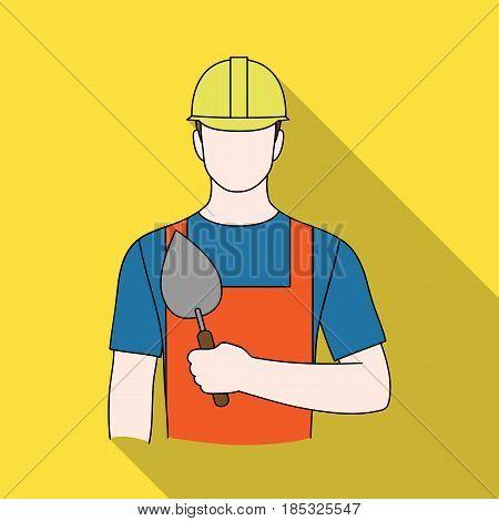 Builder mason.Professions single icon in flat style vector symbol stock illustration .