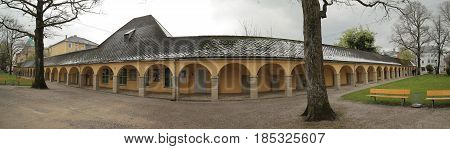 Traunstein, Germany - Apr 19 2017 : Arcaded Sidewalk At The Old Cemetery In Traunstein, Germany