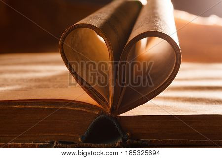 Book pages like a heart. Love concept