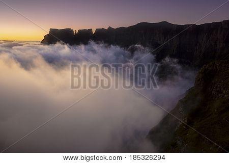Devils Tooh before sunrise on the Drakensberg escarpment in South Africa