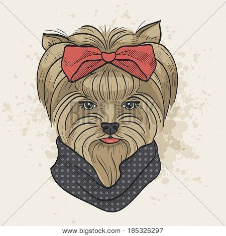 Vector color sketch of elegant dog womans face with big hear bow and scarf. Fashion look.