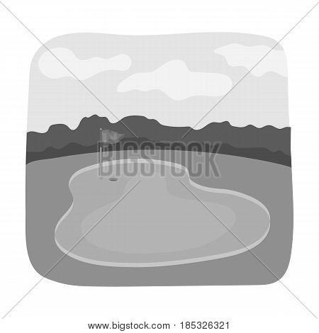 Golf course.Golf club single icon in monochrome style vector symbol stock illustration .