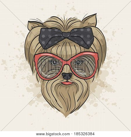 Vector color sketch of elegant dog womans face with big hear bow and sunglasses. Fashion look.