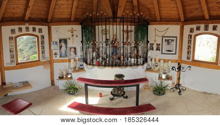 Wissing, Germany - Apr 23 2017 : Inside Of A Magnificient Catholic Chapel Near Wissing In Bavaria.