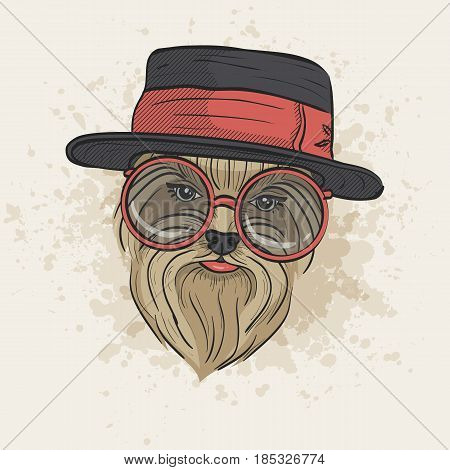 Vector color sketch of elegant dog womans face with hat and circle sunglasses. Fashion look.