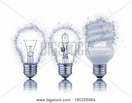 three kinds of light bulbs with Reflection shattered