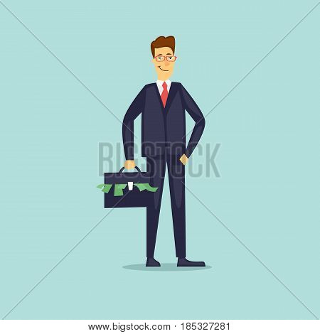 Businessman with a suitcase of money. Flat vector illustration in cartoon style.