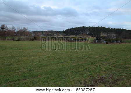 Field With Remains Of The Mindorf Linie Near Pyras In Bavaria. The Mindorf Linie Was An Early Plan F