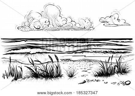 Ocean or sea beach with waves sketch. Black and white vector illustration of sea shore with grass and clouds. Hand drawn seaside view.