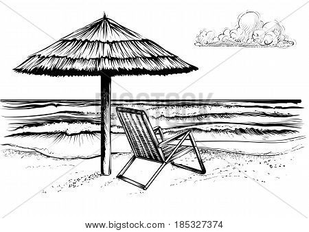 Ocean or sea beach with waves sketch. Black and white vector illustration of sea shore with umbrella and chaise longue. Hand drawn seaside view with parasol and deckchair.