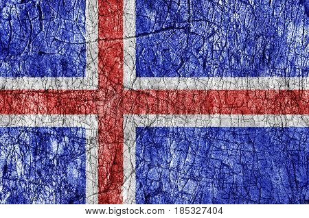 Grudge stone painted Iceland flag close up