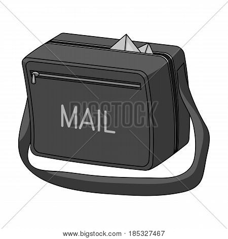 Postal bag.Mail and postman single icon in monochrome style vector symbol stock illustration .