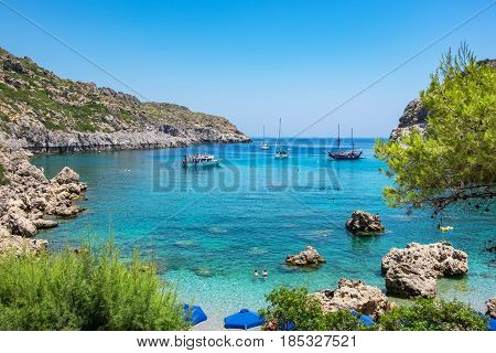 View of Ladiko Anthony Quinn Bay. Rhodes Dodecanese Islands Greece Europe