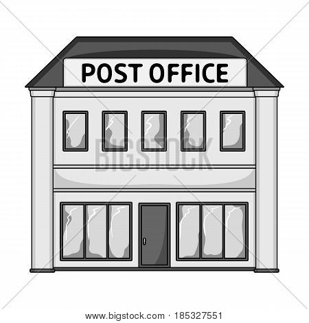 Post office.Mail and postman single icon in monochrome style vector symbol stock illustration .